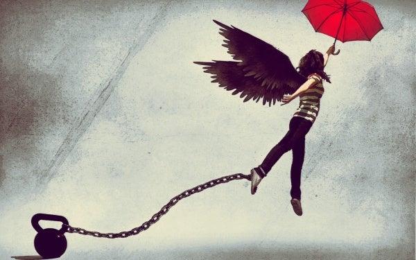 Vleugels geven aan iemand met een last; Rebel uitvaart